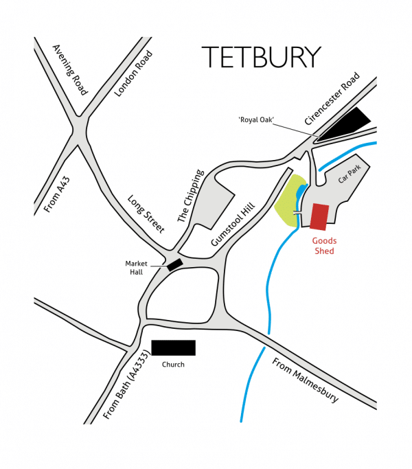 Location map of Goods Shed Arts